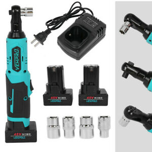 18v 2000mah 90n M 3 8 Cordless Electric Ratchet Impact Wrench Right Angle Kit