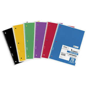 New Mead Wire Notebook Assorted Colors 70 Sheets 12 count Free Shipping