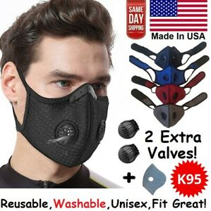 Reusable Face Mask Breathing Valves Sports Cycling Outdoor Active Carbon Filter