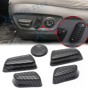 5x Carbon Fiber Pattern Seat Adjust Decor Cover Trim For Toyota Camry 2018 2019