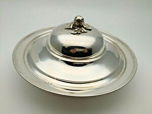 Large 900 Silver Italy Serving Dish Lid Cover Repousse Sterling Tray
