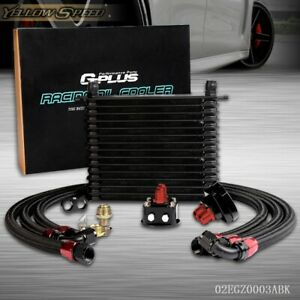15 Row An10 Powder Coated Engine Aluminum Transmission Racing Oil Cooler Black