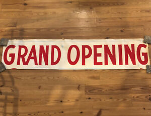 Vtg 73 X 16 Hand Painted Banner Business Sign grand Opening White W Red