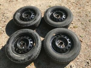 4 Honda Steel Wheels And Mounted Snow Tires With Tpms Sensors Size 185 70 14