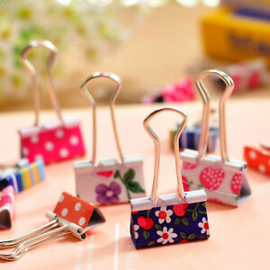 24pcs Cute Colorful Metal Binder Clips File Paper Clip Office Supplies Tbo