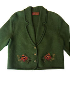 Geiger Collections Austria Olive Green Animal Wool Sweater Jacket Women Size 38