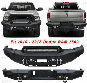 Front Rear Bumper W Winch Plate led Lights d rings For 10 18 Dodge Ram 2500