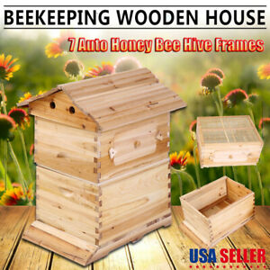 Cedarwood Beehive House Beekeeping Box 7 Pcs Auto Flow Honey Bee Hive Frames Usa
