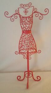 Euc 16 25 Hot Pink Wire Metal Dress Form Mannequin Table Top Decorative Jewelry