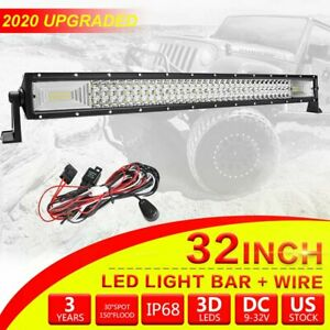 Cree 32 inch Led Light Bar Flood Spot Combo Work Lamp Offroad Utv 4wd Wiring