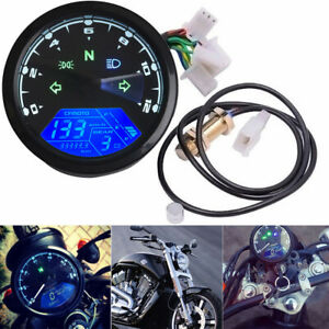 Motorcycle Speedometer Odometer 12000rpm Kmh Mph Lcd Digital Gauge Motor Bike