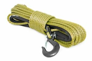 Rough Country Military Green Synthetic Winch Rope W Clevis Hook And Sleeve