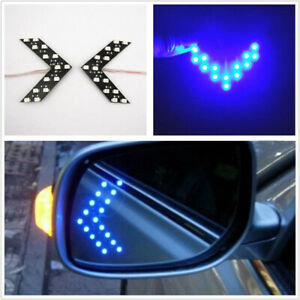 2pcs Car Side View Mirror 14smd Blue Led Lights Arrow Turn Signal Indicator Lamp