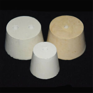 White Rubber Flask Test Tube Laboratory Cone Stoppers With 1 2 Holes Stopper