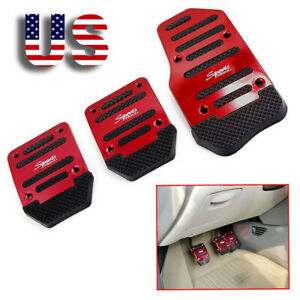 3 Red Car Foot Throttle Brake Clutch Pedals Pad Cover Interior Accessories Us