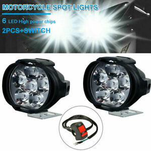 2pcs Car Motorcycle Headlight Spot Fog Lights 6led Front Head Lamp 12v 10w Atv