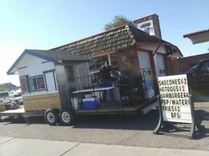 Coffee Food Snowball Concession Stand On Trailer With Large Porch For Sale I