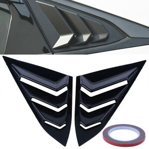 2x Black Abs Vent Quarter Side Window Louver Cover For Honda Civic 2016 2020