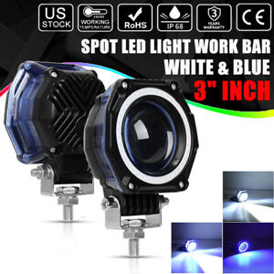 3inch Round Cree Led Work Light Pods Spot Driving Lamp Blue Drl Offroad 4wd Us