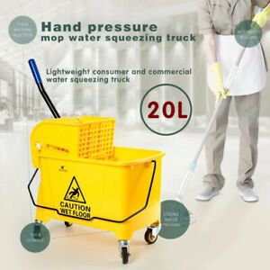 Mini 5 Gallon Mop Bucket W wringer Combo Commercial Rolling Cleaning Cart 20l