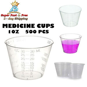 Medicine Measuring Cups Polypropylene Plastic Material Disposable Clear 500 pack