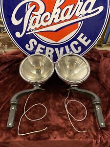 Pair Of Packard Trippe Safety Speed Lights With Brackets