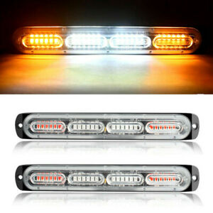 2pc Amber white 24led Car Truck Emergency Warning Hazard Flash Strobe Light Bar
