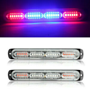 2pcs Red blue 24led Car Truck Emergency Warning Hazard Flash Strobe Light Bar