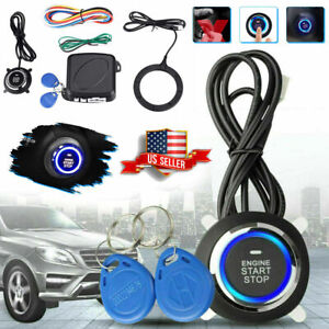 12v Car Engine Push Start Button Ignition Rfid Keyless Remote Starter Alarm M1e9