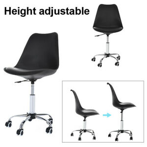 Office Desk Chair Pu Leather Middle Back Armless Swivel Task Chair Wheels Black
