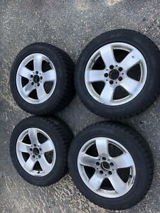 Used 225 55r19 Antares Grip 20 95h Snow Tires 4 Tires With Mercedes E500 Rims