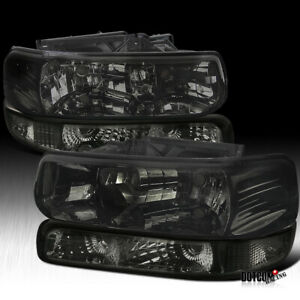 Fit 1999 2002 Silverado 2000 2006 Tahoe Suburban Headlights bumper Lights Smoke