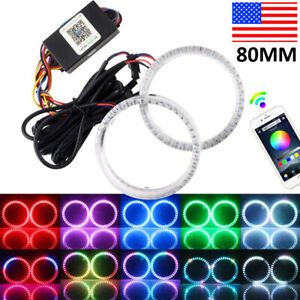 Set Rgb 95mm Cob Led Angel Eye Lights Halo Rings Phone App Control Headlight Drl