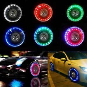 Car Bike Tire Tyre Lamp Air Valve Stem Wheel Well Rim Led Light 15 Mode Neon Usa