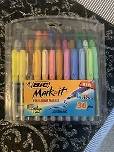 Bic Usa Inc Bic Mark It Permanent Markers Fine Point Asstd Color 34 Pack