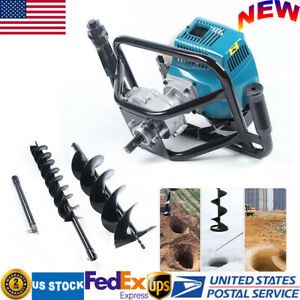 52cc Gas Powered Post Hole Digger Earth Auger 2 Drill Bits 12 Extension Bar Us