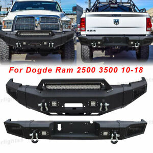 Front rear Bumper W winch Plate led Light d ring For 10 18 Dodge Ram 2500 3500