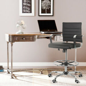 Drafting Office Chair Pu Leather Computer Height Adjustable Rolling Swivel Black