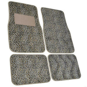 Cheetah Print Car Floor Mats For Sedan Suv 4 Piece Carpet Liner Vinyl Heel Pad