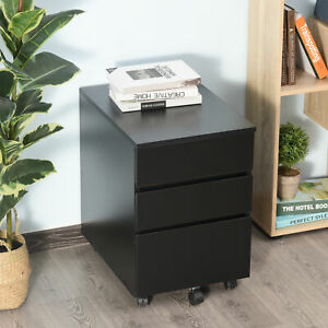 Homcom 3 Drawer Filing Cabinet Home Office Mobile File Organizer With 5 Castors