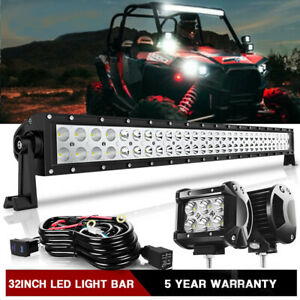 For Polaris Rzr 800 900 Xp4 1000 Upper Roof 30 32 Tri Row Led Light Bar Combo