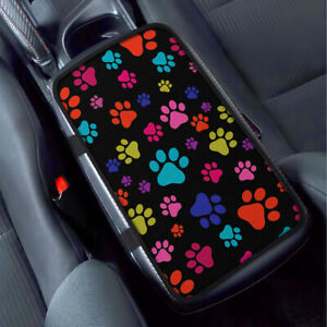 Multicolor Paws Dog Car Universal Armrest Pad Center Console Cushion Mat Cover
