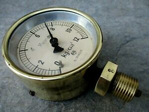 Vintage Brass Old Ship Pressure Central Gauge Steam Swiss Made Nice Manometer