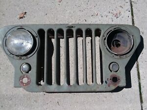 Original 1940 S 1950 S Willys Jeep 6 Slat Grille Grill Lights
