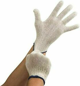 12 Pairs Natural White String Grip Knit Poly Cotton Work Gloves
