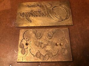 Two Metal Letterpress Plates Vintage Hot Press
