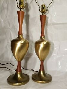 Vintage Mid Century Modern Pair Of Teak And Brass Table Lamps All Original