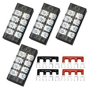 Totot 4pcs 4 Positions Dual Row 600v 25a Screw Terminal Strip Blocks With Cover