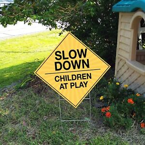 slow Down Children At Play Double sided 23 x23 Yard Sign