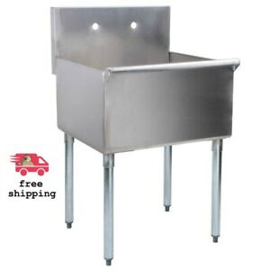 Stainless Steel Commercial Utility Sink Prep Hand Wash Laundry 24 X 21 X 14